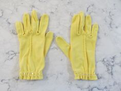 """VINTAGE 1950's PARIS Yellow Wrist Length Gloves with Tiny Buttons---8"""" long--Size 7 1/2--Glove Auction #1159 by PrimaMona on Etsy"""