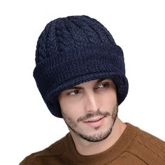 219a4594d8d79 FS Neck Warmer Winter Hat Wool Knit Cap For Men Fleece Knitted Beanie Hats  Men Skullies Beanies Casquette.