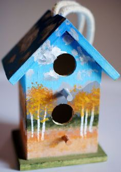Another mini birdhouse painted by me :) these are one of a kind! $20.00