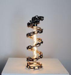 Hecho a mano Rústico Industrial artístico Sable de Luz Lámpara Steampunk Vintage Espiral