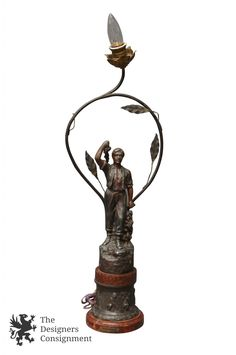Antique 1930 French Spelter Grape Picker Figural Lamp by Vendange Charles Ruchot | The Designers Consignment