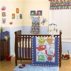 This monster crib set is adorable.