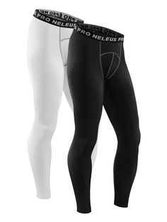 1561550dc7 Neleus Men's Compression Running Leggings Tights,6026,White,Black,M,EUR