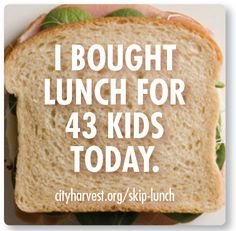 summer time childhood hunger | Donate Your Lunch Money to Fight Child Hunger! | New York City Eats