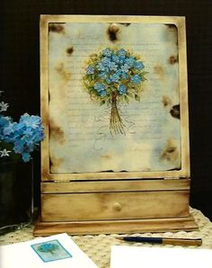Forget-me-nots painted on a secretaire by Corrine Riopelle from her book: Some of My Favorite Things...