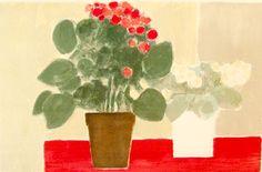 赤いテーブルのベゴニア
