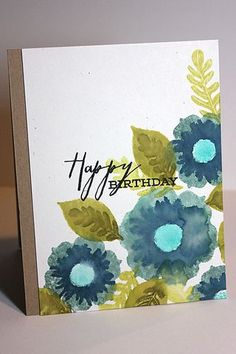 Floral Happy Birthday Card by Heather Nichols for Papertrey Ink (April 2013)
