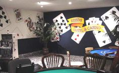 Poker room wall decor casino theme game room in a house with wall decals wa Boys Game Room, Game Room Basement, Boy Room, Kids Room, Game Rooms, Basement Ideas, Game Room Decor, Room Setup, Room Wall Decor