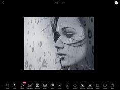 Hier heb ik de foto van de regendruppels over de foto heen gegooid.