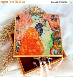 Christmas Sale Klimt Wooden Jewelry Box by ArtKaleydoskop2015