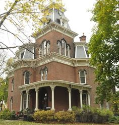 """Hower House was completed in 1871. John Henry Hower along with Jacob Snyder, a well-known Akron architect, designed this house in the Second Empire Italianate style. This 28-room mansion is capped with a distinctive mansard roof and soaring tower. The unusual floor plan was based on the"""" """"Akron Plan,"""" widely used in church constructions as part of the """"Sunday School movement"""" across the United States between 1870 and 1917."""