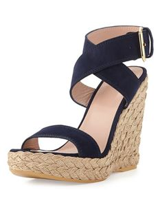 Xray Suede Jute Wedge, Nice Blue (Made to Order) by Stuart Weitzman at Neiman Marcus.