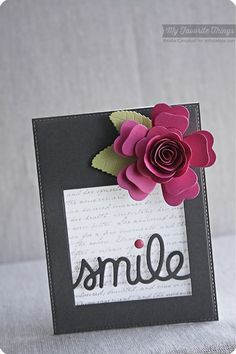 Romantic Script Background, Large Hybrid Heirloom Rose Die-namics, Royal Leaves Die-namics, Smile Die-namics,  - Keisha Campbell #mftstamps