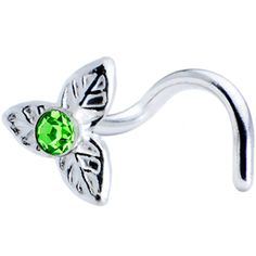 Sterling Silver Peridot Three Petal Flower Nose Ring Made with SWAROVSKI ELEMENTS   Body Candy Body Jewelry $2.99