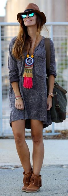 Kuka & Chic Grey Jaspeado Mini Shirt Dress by Like A Princess Like.... Kuka