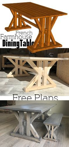 French Farmhouse Dining Table Free Plans for the home kitchen #diningtable #farmhouse