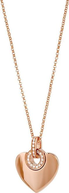 Bvlgari Bvlgari Cuore 18ct Rose Gold and Diamonds Necklace as seen on Rosie Huntington-Whiteley