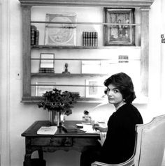 "Jackie Kennedy in her office at 3307 N Street N.W. in Georgetown in 1959. According to her secretary at that time, Provi's sole responsibility was Jackie's clothes. Other ""staff"" members did everything else. Provi was with Jackie until the day she died."