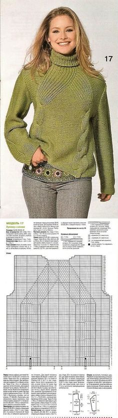 Will need to translate this but gorgeous pattern Cable Knitting, Knitting Yarn, Free Knitting, Knitting Designs, Knitting Projects, Handgestrickte Pullover, Knit Fashion, Pulls, Knitting Patterns