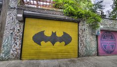 Bat Door @Aprille Pike Wallis do you think we could paint this on dads garage door for his birthday?!