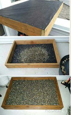 DIY Outdoor Dog Potty -Weed barrier cloth used on bottom to protect elastomeric deck coating. -Filled with 4 bags of pea gravel -Rinse regularly with water & periodically with vinegar to neutralize urine smell -If on free standing deck, should make sure it can support the weight load.