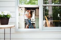 Couple's At-Home Engagement Pics (Anchor and Veil Photography) Love this through-the-window angle.
