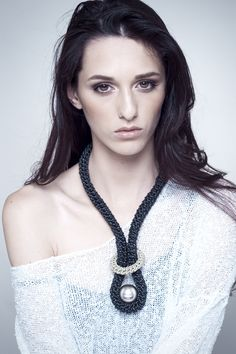 Crocheted Leather Necklace with Silver Ball