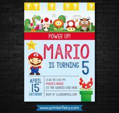 Super cumpleaños de Mario Super Mario invitación cumpleaños