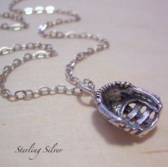 Softball Baseball Glove Charm Necklace - Sterling Silver Charm and Chain - Madison Craft Studio A La Carte - Build Your Own Necklace. Softball Coach, Girls Softball, Fastpitch Softball, Softball Players, Baseball Mom, Baseball Caps, Softball Stuff, Espn Baseball, Softball Party