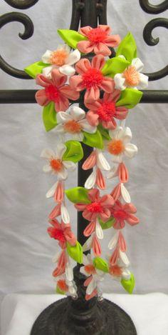 Peach blossom kanzashi (updated photo) by EruwaedhielElleth.deviantart.com on @deviantART