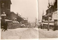 The top of Green Lane, Derby, in January 1940 after heavy snowfall