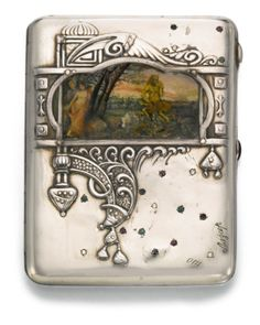A jewelled silver and pictorial enamel cigarette case, Moscow, 1908-1917