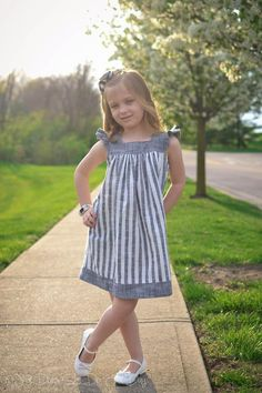 Fair & Square - Square Neck Top and Dress Pattern for Girls - Tie Dye Diva Patterns Girl_square_neck_pattern Baby Frocks Designs, Kids Frocks Design, Girls Dresses Sewing, Little Girl Dresses, Little Girl Clothing, Baby Girl Dress Patterns, Children's Dress Patterns, Sewing Patterns, Kids Clothes Patterns