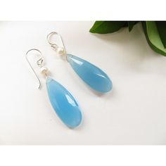 Sky Blue Chalcedony earrings, Sterling Silver Pearl June Birthstone... ($41) ❤ liked on Polyvore featuring jewelry, earrings, tear drop earrings, chalcedony teardrop earrings, chalcedony earrings, dangle earrings and pearl jewelry