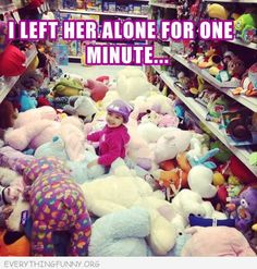 funny caption i left her alone for one minute pulled all stuffed animals off shelves in store