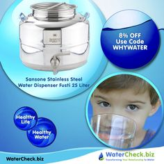 Sansone Stainless Steel Water Dispenser Fusti Fustino is a stylish, solid and hygienic. BPA Free. #whywater #eco https://www.watercheck.biz/products/sansone-stainless-steel-water-dispenser-fusti-25-liter-6-6-ga?utm_content=buffera1757&utm_medium=social&utm_source=pinterest.com&utm_campaign=buffer