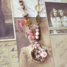 Vintage Necklace Shabby Chic Necklace Shell Pendant