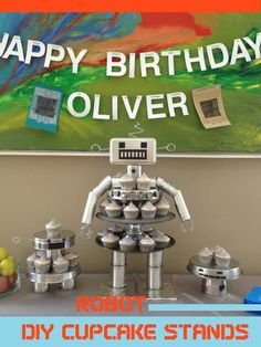 Robot Birthday DIY Cupcake Stand - Spaceships and Laser Beams