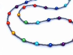 Your place to buy and sell all things handmade - Rainbow Glasses Holder Rainbow Beaded Spectacle Holder - Crystal Jewelry, Beaded Jewelry, Beaded Necklace, Waist Jewelry, Jewelry Patterns, Eye Glasses, How To Make Beads, Cute Jewelry, Bracelet Set