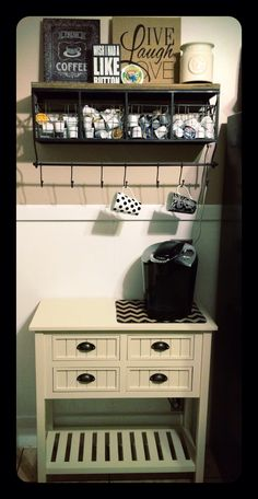 New coffee station in my kitchen! love it! Shelf from Hobby Lobby and Console and art from Kirklands