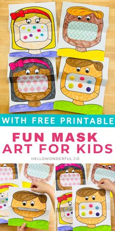 This mask coloring art for kids is a great way to talk to kids about wearing masks and the safety behind why as well as serve as a fun creative activity. Art Activities For Kids, Color Activities, Preschool Activities, Preschool Projects, Therapy Activities, Projects For Kids, Crafts For Kids, Summer Crafts, First Grade Art