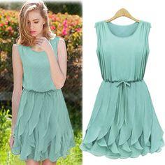 danielle? New Hot Summer Women Mint Green Chiffon Pleated Dress