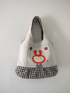 Linen tote with hand painted illustration   Flickr - Photo Sharing!