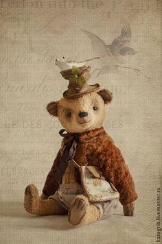 Весенние мишки! Апрель! - золотой,мишка тедди,teddy,bear,вискоза,мишка из вискозы