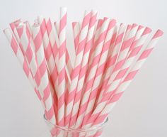 50 PINK STRIPE Paper Straws.... w/ DIY Blank Printables,Cake Pop Sticks, Retro, Vintage Inspired, Wedding, Graduation