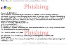 "eBay ""Status Alert"" Phishing Scam Email"