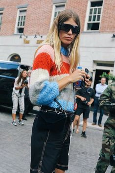 #veronikaheilbrunner in The Julliard Mohair Pullover knows how to wear colors! #ganni #pullover #streetstyle #fashion #style
