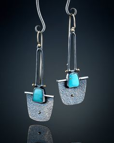 Kingman Turquoise Earrings by amybuettner on Etsy