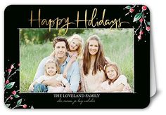Frosted Berries Holiday Card, Rounded Corners, Black