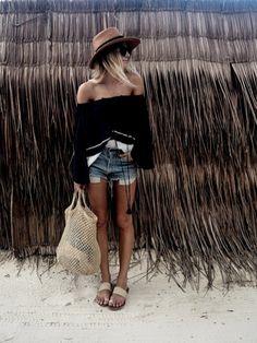 Straw hat, black off-the-shoulder top, denim shorts & leather sandals | @styleminimalism
